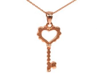 14k Rose Gold Key Necklace