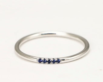 14k White Gold Sapphire Wedding Band, Blue Sapphire Engagement Ring, Dainty Stack Ring with Sapphire set, Simple Fashion Gemstone Ring