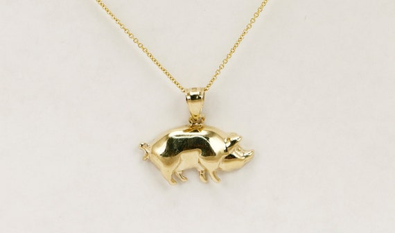 14k yellow soild gold pig pendant pig charm for charm like this item mozeypictures Gallery