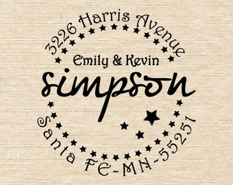 Custom Self Inking or Mounted Handle Address Stamp, Star Avenue Design, Custom address stamp - Personalized Address Rubber Stamp - AA11