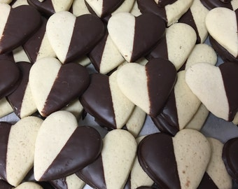 Chocolate Dipped Heart Shaped Sugar Cookies, 1 lb.