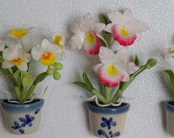 White Flower Set of 3 - Flower Refrigerator Magnet Handmade 100%