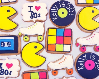 Throw Back to the 80's Sugar Cookies, 1980's Theme Cookies