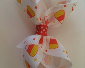 Candy Corn bow, twisted boutique bow, fall bow, girl fall bow