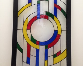 Geometric Modern - Stained Glass Window Panel