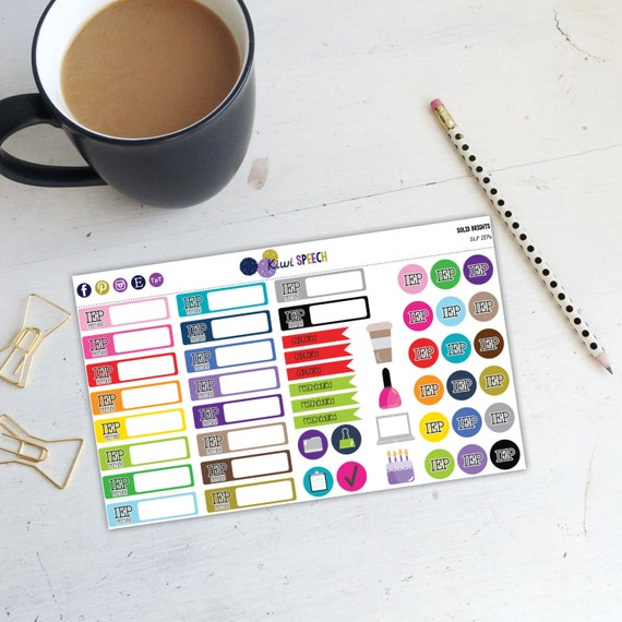 SLP IEP Meeting Planner Stickers / Solid Brights/ DAA02