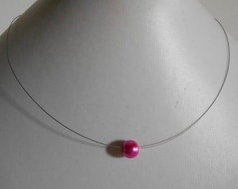 Necklace wedding Pearl solitaire fuchsia