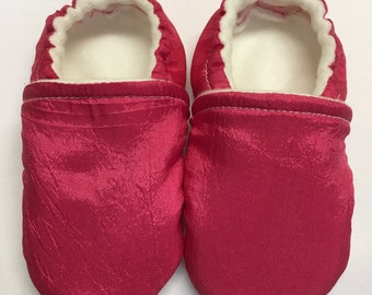 Pink Silk Baby Shoes, Chic Hot Pink Girl Newborn Slippers, Classy Infant Crib Shoes, Toddler Moccasin, Non-Slip Sole, Loafers that Stay on!