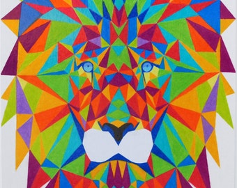 Neon Geometric Lion Head