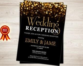 Wedding Reception Invitation. Printable Wedding Reception Invitation. Gold Glitter Bokeh. Glam Wedding Reception Invite. Chalkboard