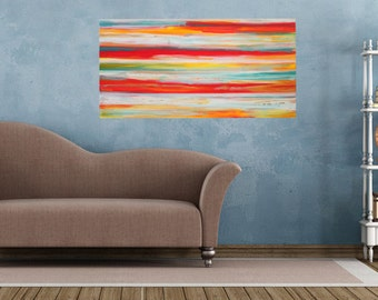 Abstract acrylic painting 100x50cm original paintings unique contemporary art colorful stripes horizontal modern image