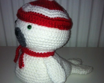 Baby Seal, Amigurumi Seal, Crochet, Handmade Soft Toy, Stuffed, Hat and Scarf, Red