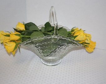 Clear Glass Basket for Holding A Bouquet of Flowers