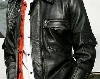 Gentleman's Black Corporate Lambskin Leather Jacket