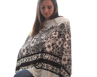 Nursing Shawl    Breastfeeding Cover Up   Nursing Poncho   Brown Print Nursing Apron   Nursing Cover   Baby Shower Gift   Gift under 30