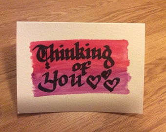 Thinking of You Watercolor Calligraphy Greeting Card
