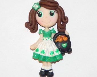 Handmade Girl St.Patrick's Day Polymer Clay Pendant/Magnet/Bead/Figure