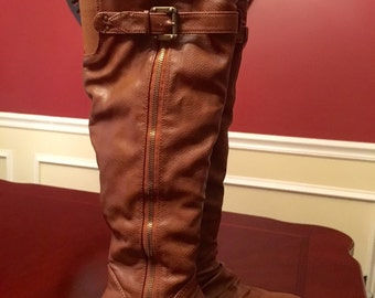 NO RETURN/REFUND - Bamboo Cocoa Brown Knee Boots