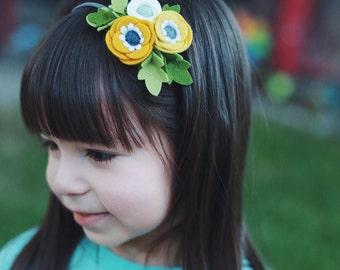 Petite Poppy Headband // Felt flower crown headband // Mustard Yellow White // kikiandbee