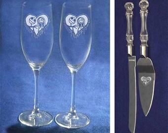 Nightmare Before Christmas Jack Sally Wedding Glasses Knife Cake Server set