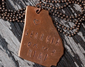 Georgia Hand-Stamped Pendant Necklace, Copper, Brass, Aluminum, Any State Available, State Necklace, Gift Under 20, Teen Girl Gift, UGA, GA