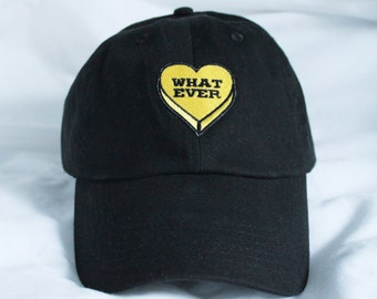 Black Whatever Heart embroidered Baseball Cap Pastel Goth Dad Hat Tumblr inspired