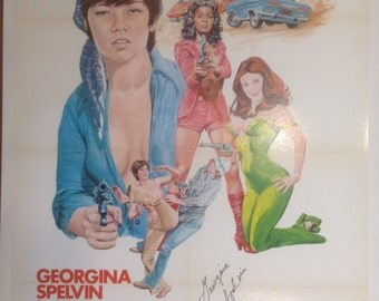 Girls For Rent Adult Movie Poster, Signed by Georgina Spelvin