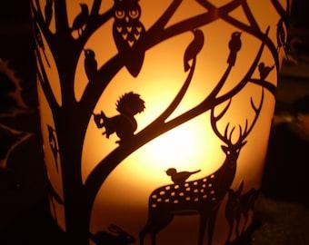 Danish Woodland Reindeer Copper & Glass Tea Lite Holder.Design 0003