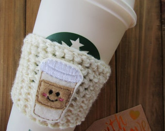 Happy Coffee Crochet Coffee Cozy!  Starbucks Travel Mug Coffee Sleeve!  To Go Coffee Cosy with Smiling Coffee!