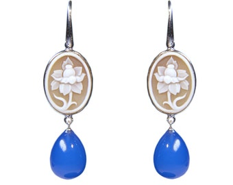 Eyeshadows 925 Silver earrings with stones and hand-carved cameo
