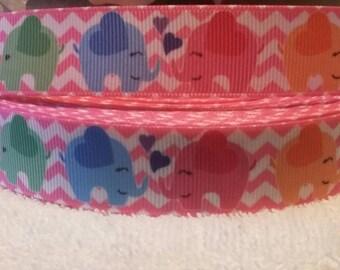 "3yards, 7/8"" multi colored elephants grosgrain ribbon"