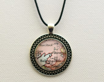 Ballyshannon Donegal Map Necklace,  Ireland Map Pendant, Antique Silver Plated Necklace