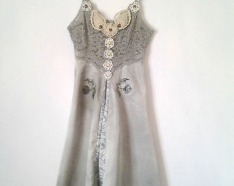 Silver Roses Lace Crochet Edging Boho style dress