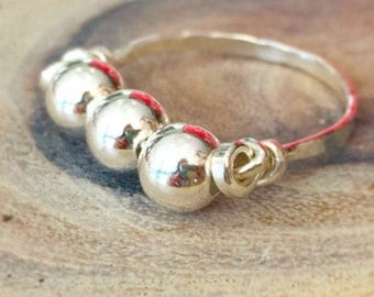 Ball Beads Ring, Silver Ball Beads Ring