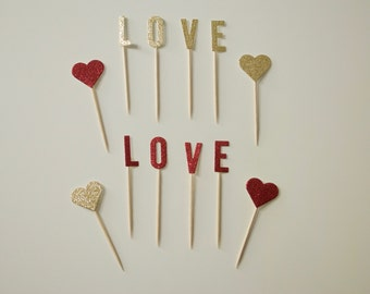 8 Cupcake Toppers Love Glitter Gold&Red