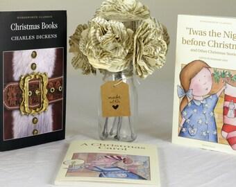 Various Classic Christmas Stories - Handmade Paper Flower Bouquet Using A Second Hand Novel