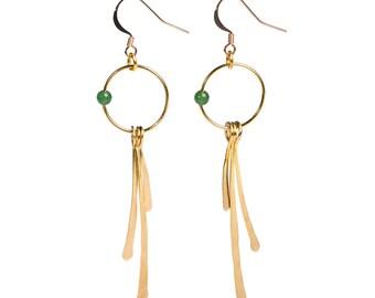 Gold Tone Earrings 'Dangle Green'