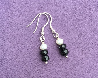 Sterling Silver Black Spinel and Pearl Drop Earrings, 1920s inspired Black Spinel Earrings, High End Gemstones, Birthstone Gift, Prom Gift