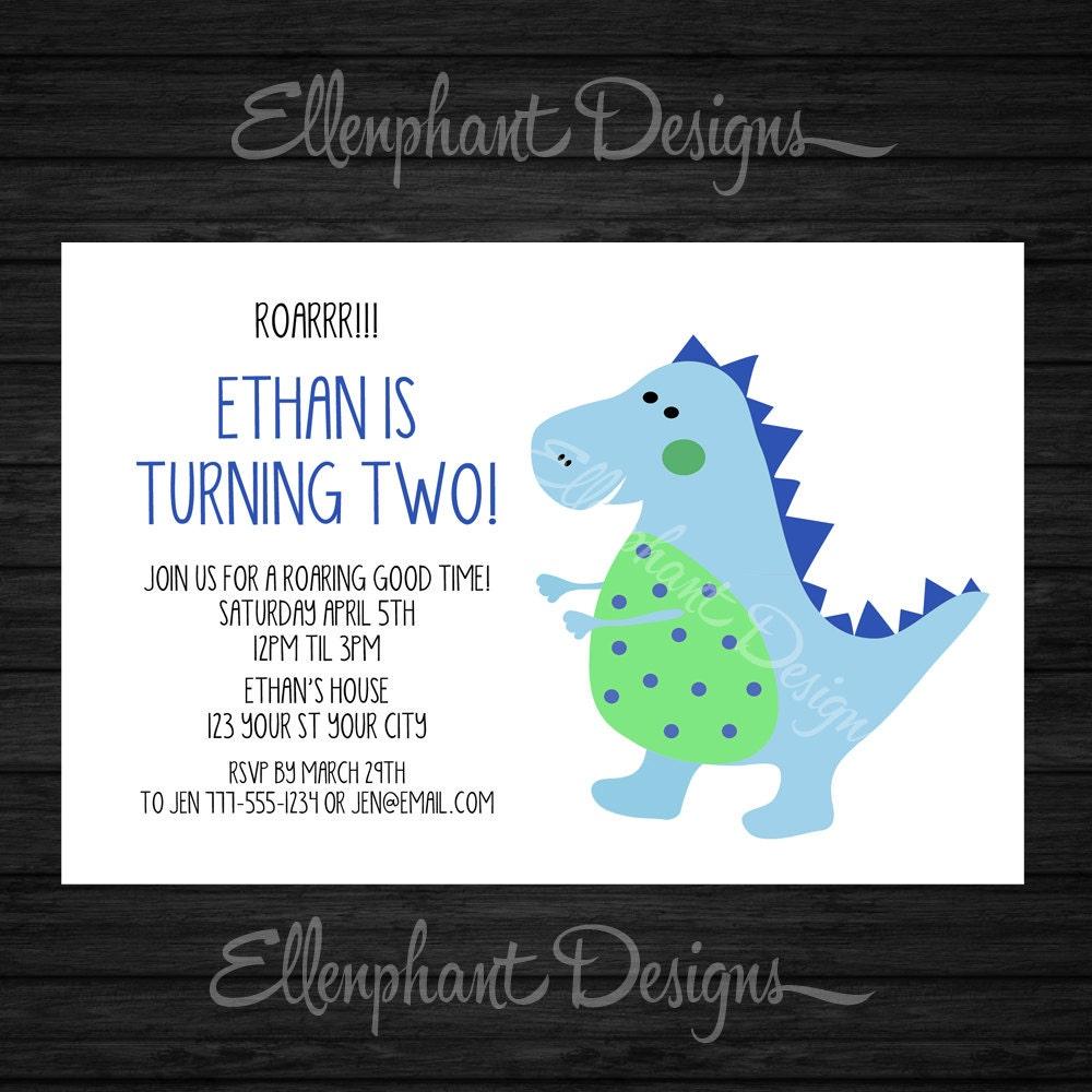 Dinosaur birthday Invitation, cute, blue, roar, first, second, 1st ...