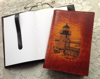 Journal,sketchpad, artist notebook, Horween leather,diary,travel log, lighthouse,guestbook,leather jounal, Bookcover