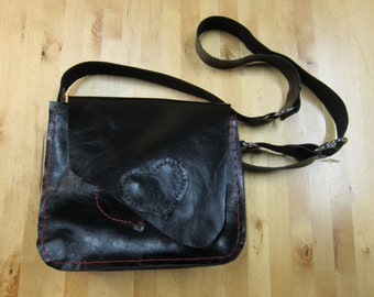 Bag No4 - Hand stitched black leather bag, cross body, OOAK