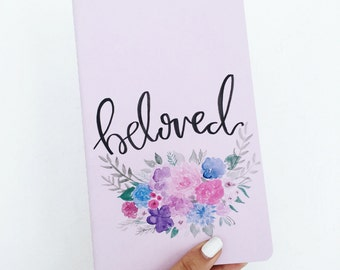 Costumizable word Moleskin Journal with florals