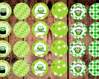 St. Patrick's Day- Bottle Cap Images- Owl Bottle Cap Images- Owls- Instant Download