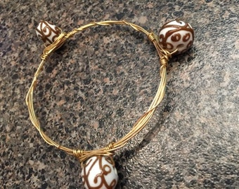 Fancy bead bangle bracelet