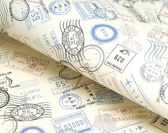 20pcs Travel Post Marks Wrapping Paper, Travel Stamp Paper