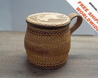 FREE SHIPPING. Birch bark box. Birch bark gift. Birch bark souvenir. Gift from Russia.