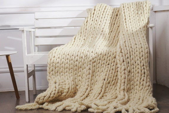 Knit Blanket Pattern Super Bulky : Chunky knit blanket Super bulky blanket Chunky by ...