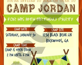 Camping Custom Birthday Invitation