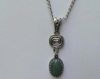 Green Aventurine Natural Gemstone antique sterling silver Necklace, Prosperity, Friendship