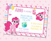 My Little Pony Birthday party invitation, Pinkie Pie Party Invite, Perfect for kid girl, Digital Printable DIY, Print Youself